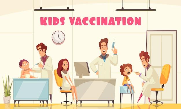 Vaccinatie van kinderen illustreerde hoe medisch personeel jonge patiënten in de kliniek vaccineert Gratis Vector
