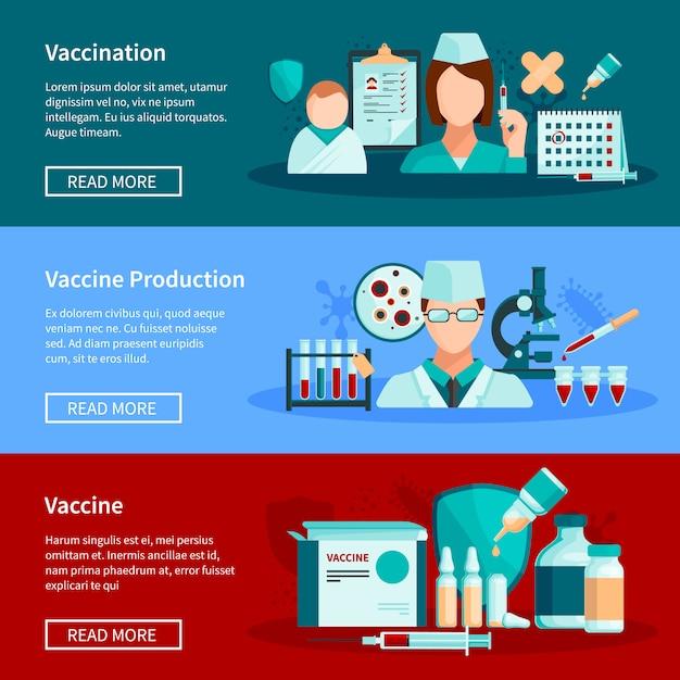 Vaccinatie vlakke horizontale banners met de vaccinatie van vaccinproductie en reeks van klaar om vaccinproducten te gebruiken ontwerpt samenstellingen vectorillustratie Premium Vector
