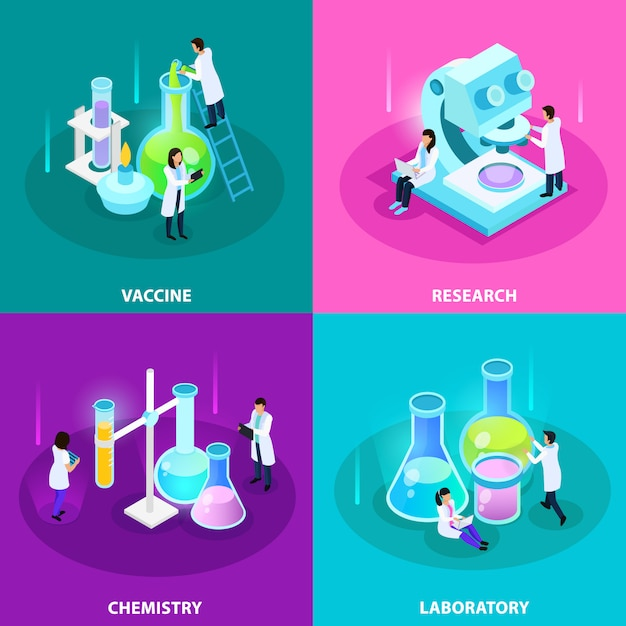 Vaccins ontwikkeling isometrisch concept met laboratoriumonderzoek chemie-apparatuur en experimenten geïsoleerd Gratis Vector