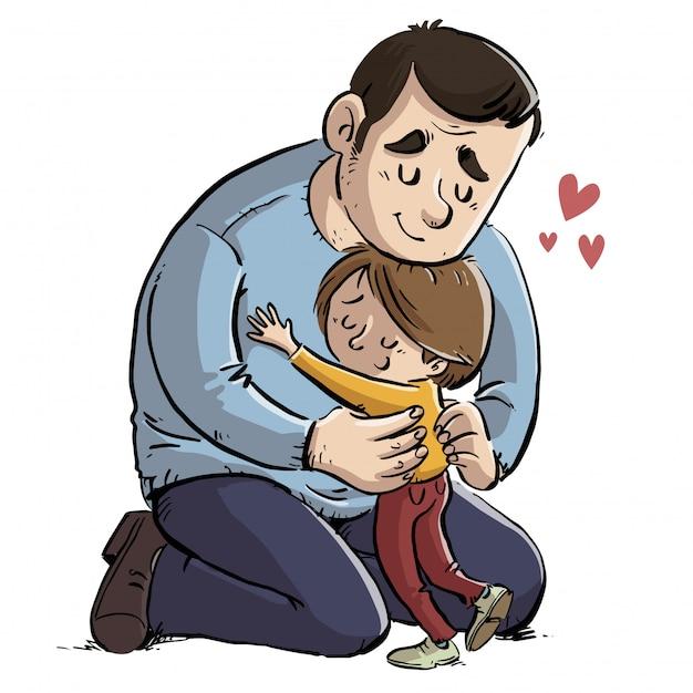 Vader die zijn dochter een knuffel geeft Premium Vector