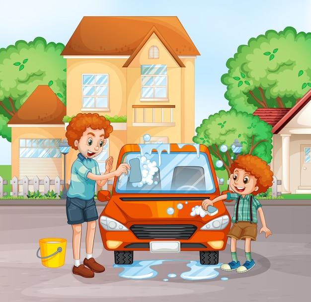 Vader en jongen wassen auto Gratis Vector