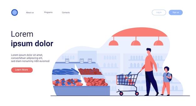 Vader en zoon die voedsel in supermarkt kopen Gratis Vector