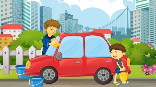Vader en zoon schoonmaak auto Gratis Vector