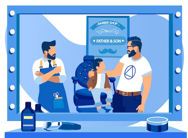 Vader en zoontje in barbershop, happy family Premium Vector