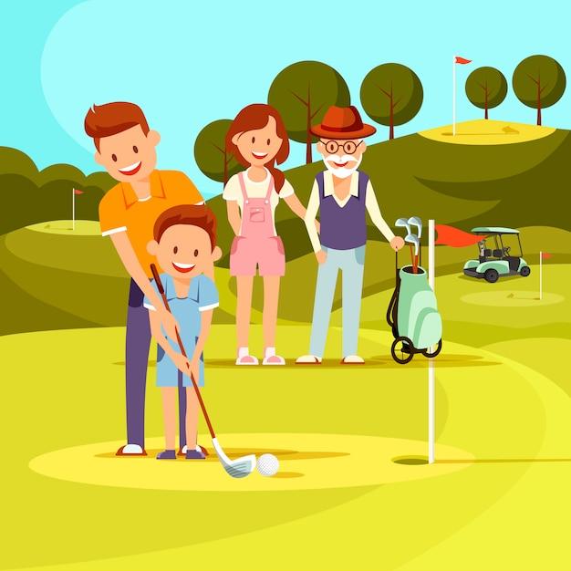Vader leert zoon golfen Premium Vector