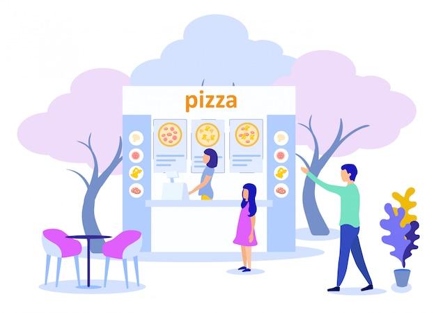 Vader met dochter die pizzeria op straat bezoekt Premium Vector