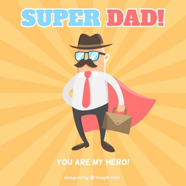 Vader met een cape als een superheld kaart Gratis Vector