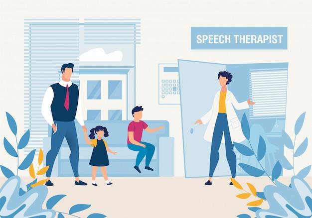 Vader met kinderen bij speech therapist consultation Premium Vector