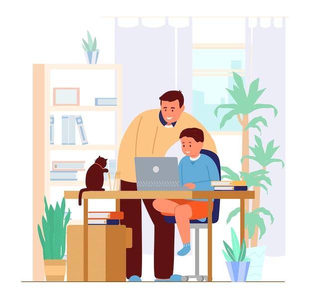 Vader of tutor die zoon thuis onderwijst Premium Vector