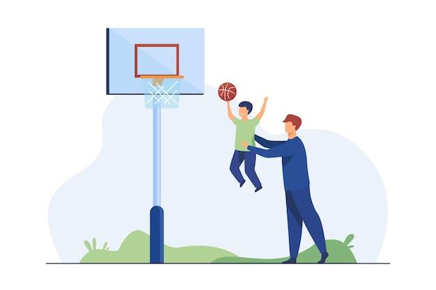 Vader speelt basketbal met zoontje. vader helpt jongen om bal in mand vlakke afbeelding te gooien Gratis Vector