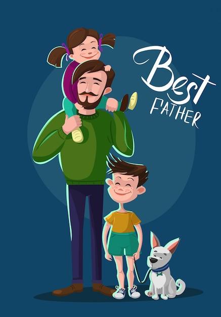Vader, zoon en dochter illustratie Premium Vector