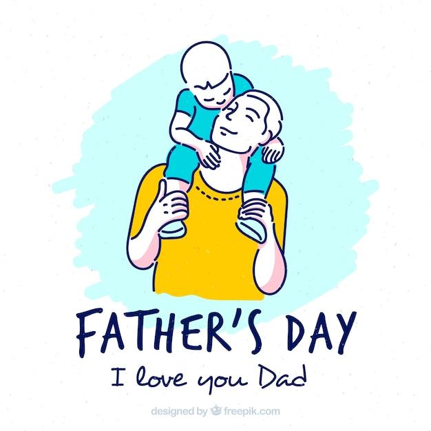 Vaderdag achtergrond met zoon en vader Gratis Vector