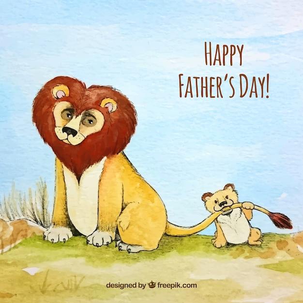 Vaderdag aquarel achtergrond met leeuwen Gratis Vector
