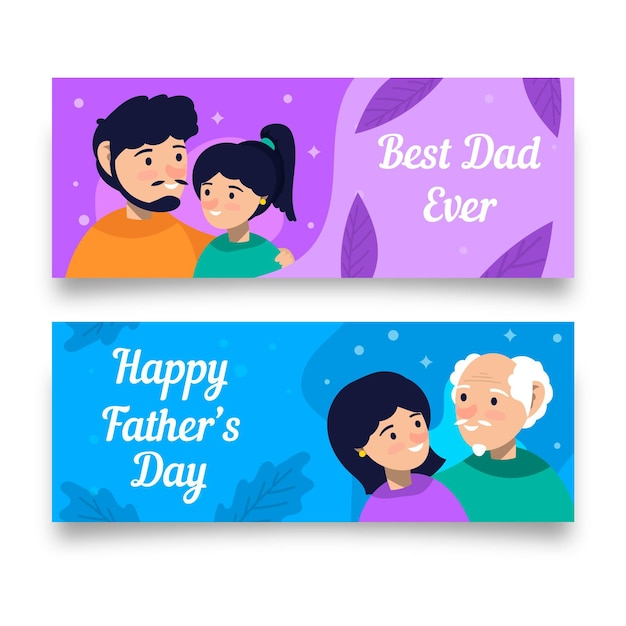 Vaderdag banners in vlakke stijl Gratis Vector