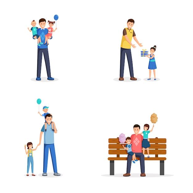 Vaderdag platte vectorillustraties instellen. jonge mannen, alleenstaande vaders brengen tijd door met kleine kinderen Premium Vector