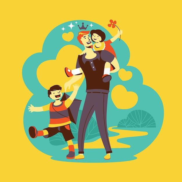 Vaderdag vader en spelende kinderen Gratis Vector