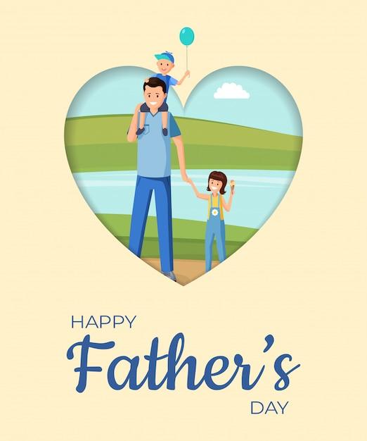 Vaderdag vakantie platte banner vector lay-out. gelukkig ouderschap, feestelijke wenskaart cartoon concept. familie viert vaderdag samen, ouder en kinderen op wandeling illustratie met typografie Premium Vector