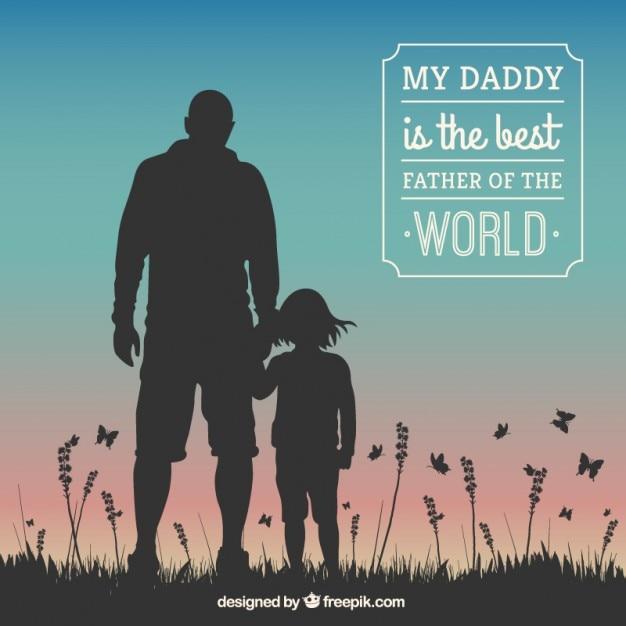Vaders dag kaart met menselijke silhouetten Gratis Vector