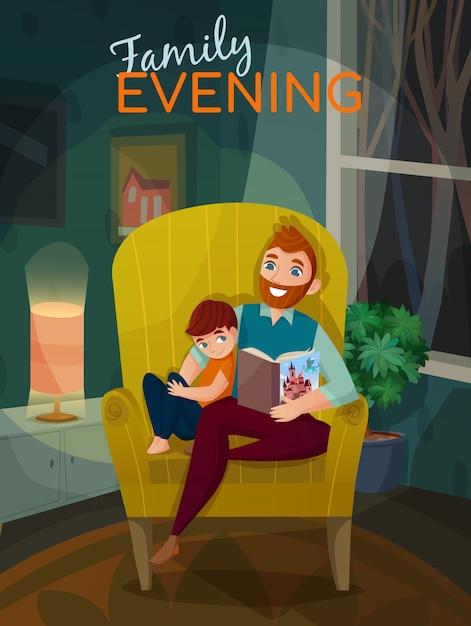 Vaderschap familie avond illustratie Gratis Vector