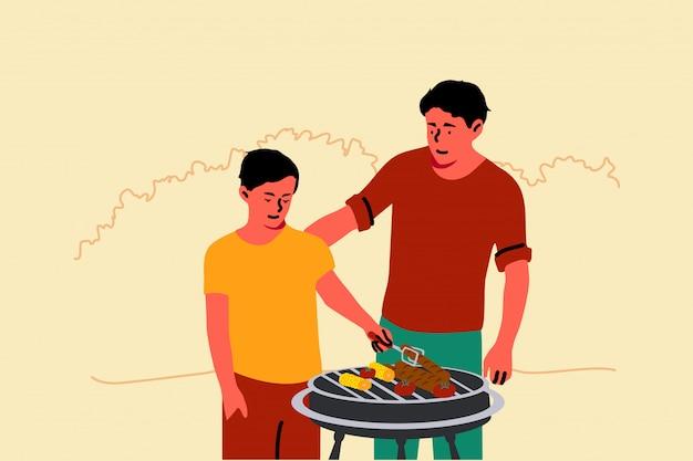 Vaderschap, jeugd, vakantie, familie, onderwijs, barbecue concept Premium Vector