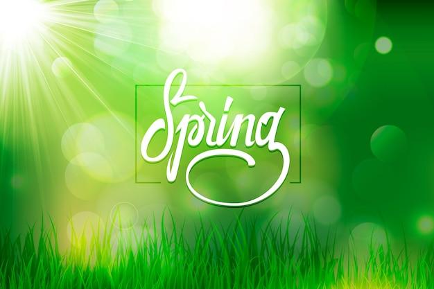 Vage de lenteachtergrond met bokeh groen effect en gras Gratis Vector