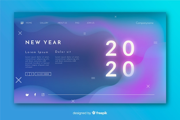 Vage nieuwe jaarlandingspagina met vloeibaar effect Gratis Vector