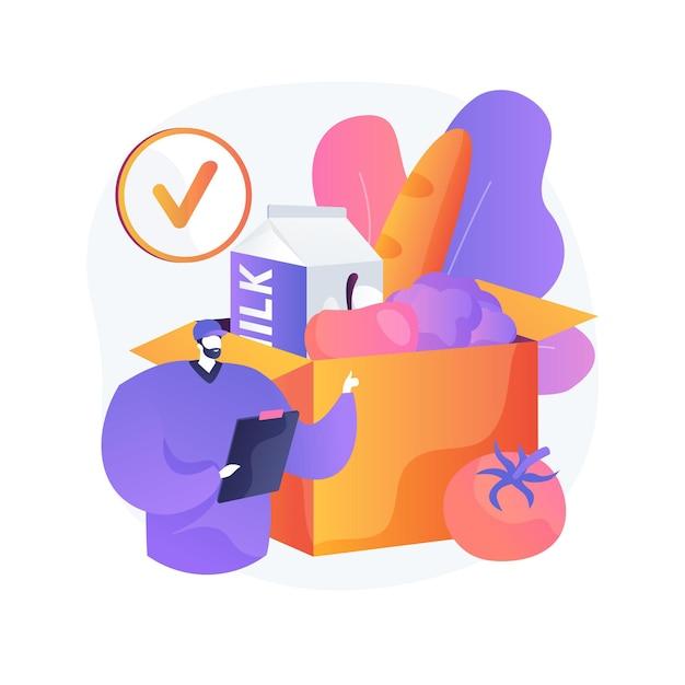 Vak abonnement service abstract concept illustratie. abonnementsplan, e-commercebedrijf, boodschappenservice, opstarten van dozen, internetmarketing, marktplaats Gratis Vector