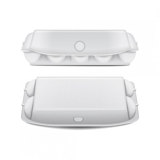 Vak dienblad voor eieren mock up vector sjabloon, witte lege clamshell containers. Premium Vector