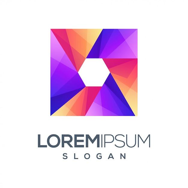 Vak zeshoek gradiënt logo ontwerp Premium Vector