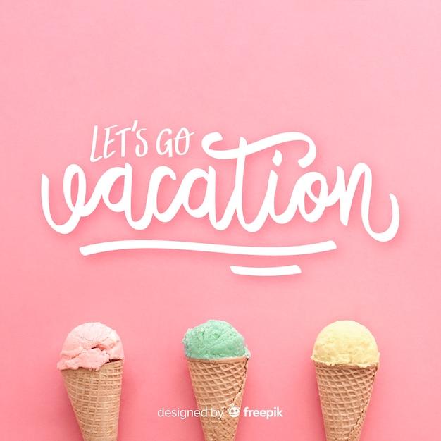 Vakantie belettering achtergrond met foto Gratis Vector