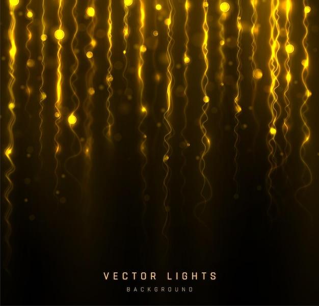 Vakantie bokeh lichten, garland. wazig bokeh licht op zwarte achtergrond. abstracte zilveren glitter intreepupil knipperende sterren en vonken. Premium Vector