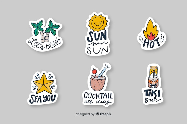 Vakantie decoratieve stickers voor foto's Gratis Vector