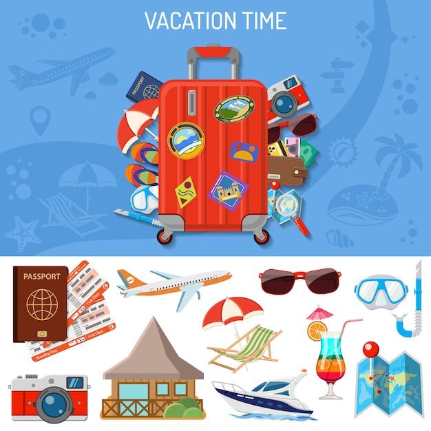 Vakantie en toerisme-banner Premium Vector