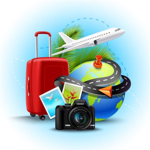 Vakantie en vakantieachtergrond met realistische bolkoffer en fotocamera Gratis Vector