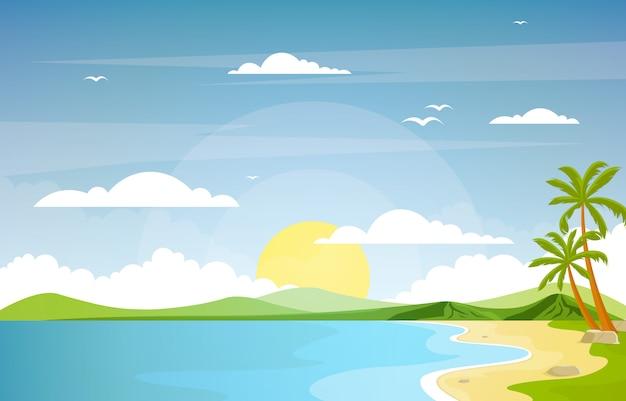 Vakantie in tropische strand zee palmboom zomer landschap illustratie Premium Vector