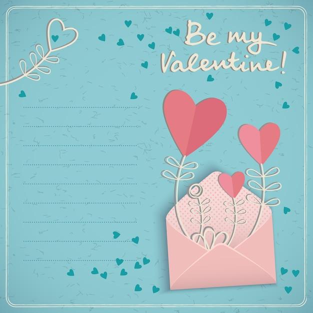 Vakantie liefde briefkaart met leeg tekstveld voorstel Gratis Vector