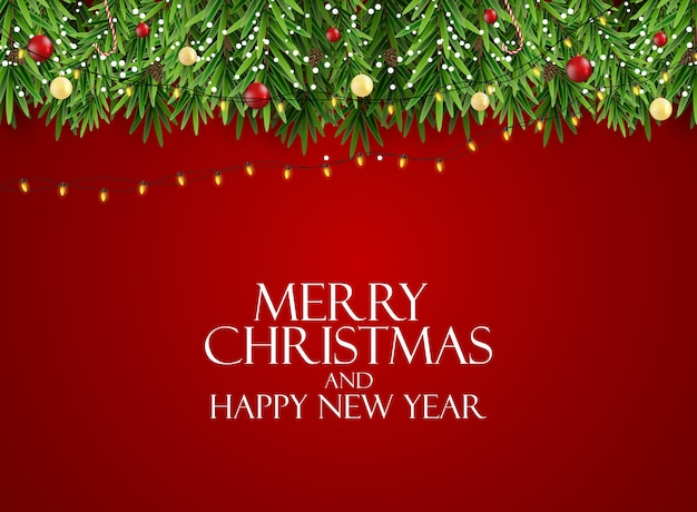Vakantie nieuwjaar en merry christmas achtergrond met realistische kerstboom. illustratie Premium Vector