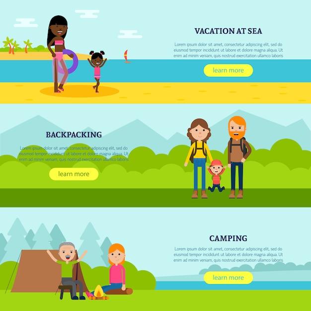 Vakantie platte horizontale banners Gratis Vector