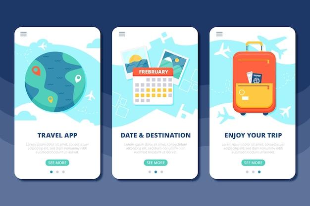 Vakantie reizen onboarding app schermen Gratis Vector