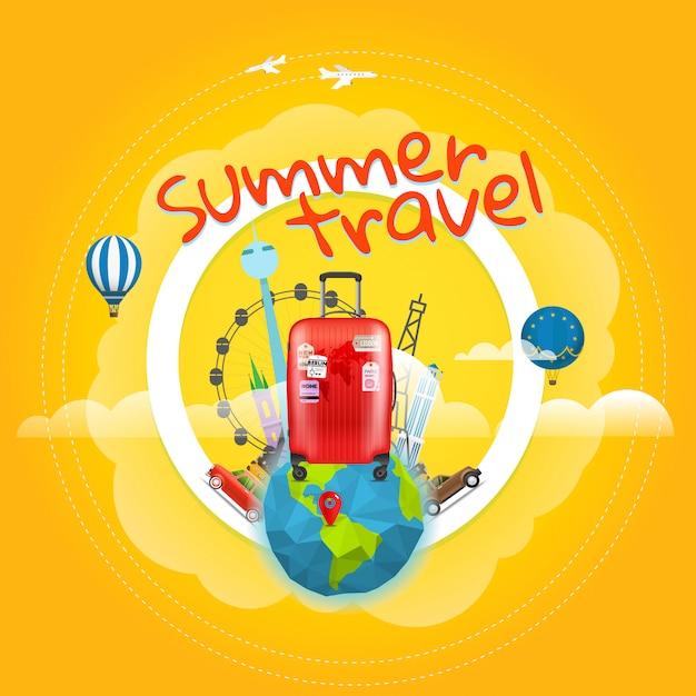 Vakantie reizende poster met de handtas. Premium Vector