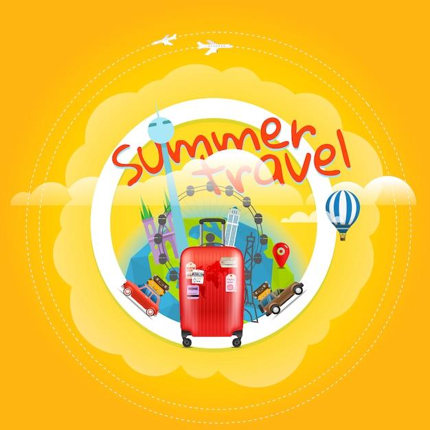 Vakantie reizende poster met handtas Premium Vector