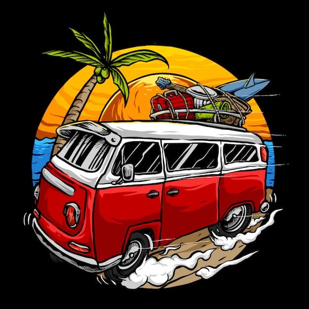 Vakantie vintage auto met zonsondergang op het strand Premium Vector