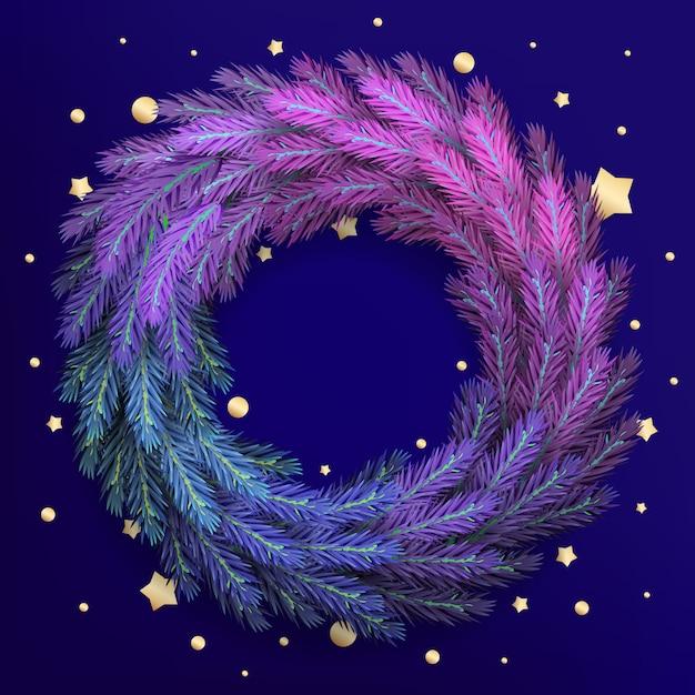 Vakantie voor merry christmas wenskaart met een realistische kleurrijke krans van pijnboomtakken en glitter Premium Vector