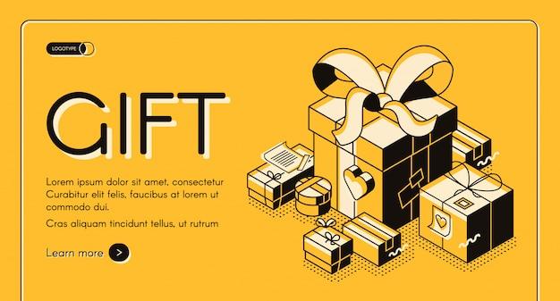 Vakantie winkelen kortingen, valentine verkoop campagne isometrische webbanner Gratis Vector