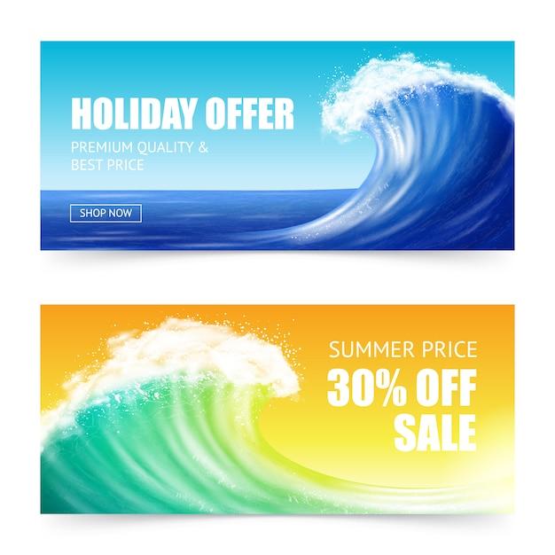 Vakantieaanbieding en big wave-banners Gratis Vector