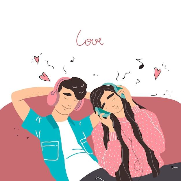 Valentijn kaart. liefhebbers van jongen en meisje luisteren naar muziek op de koptelefoon. paar in een verliefde relatie. Premium Vector