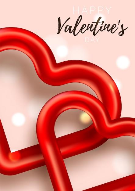 Valentijn kaart. romantische dag liefde poster tot promotie. verkoopbanner met harten en giften. speciale aanbieding voor romantische dag. Premium Vector