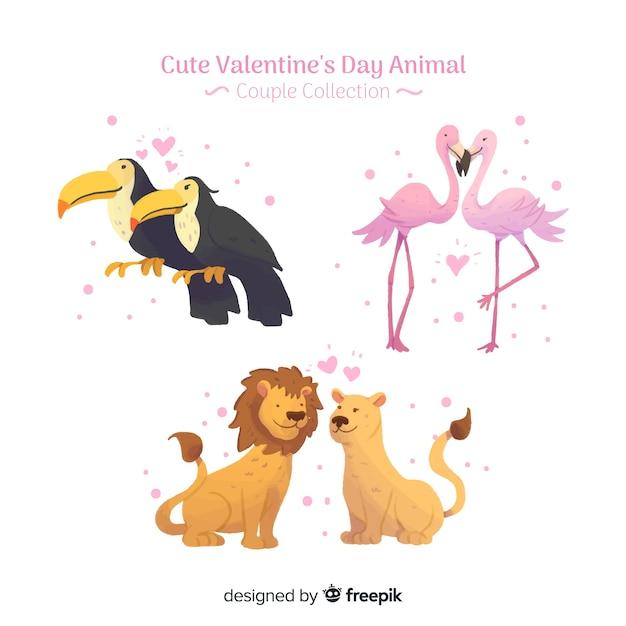 Valentijn koppels pack Gratis Vector