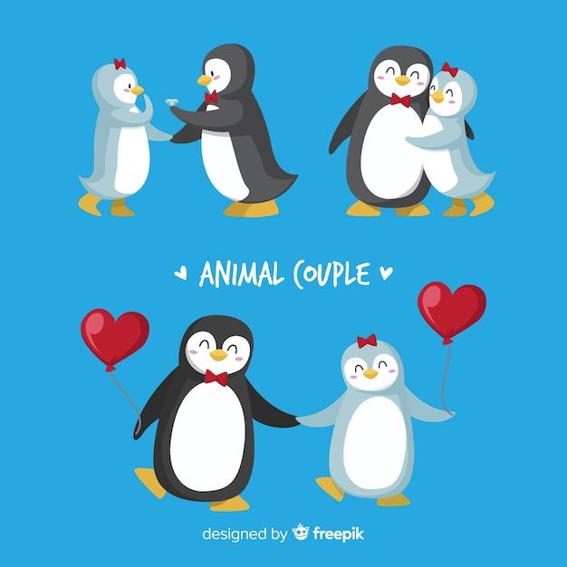 Valentijn pinguïn paar pack Gratis Vector