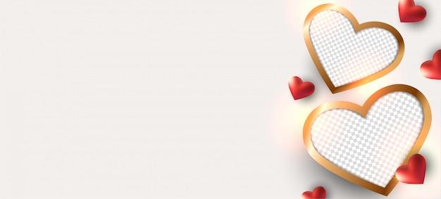 Valentijnsdag achtergrond. fotolijstontwerp. Premium Vector
